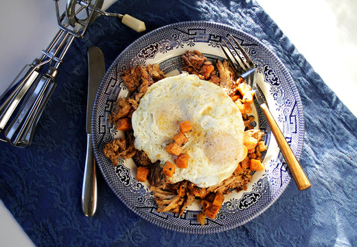 BBQ Pulled Pork Sweet Potato Hash - Green Spoon Kitchen