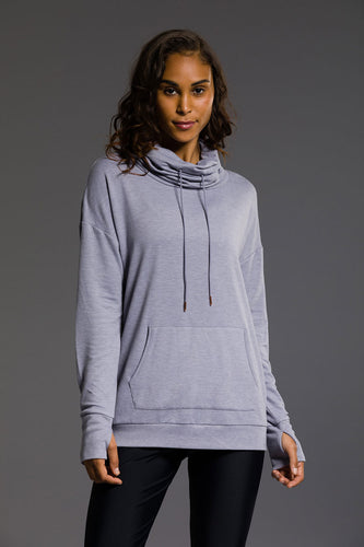 Onzie Tulip Back Cowl Neck Top - Stone