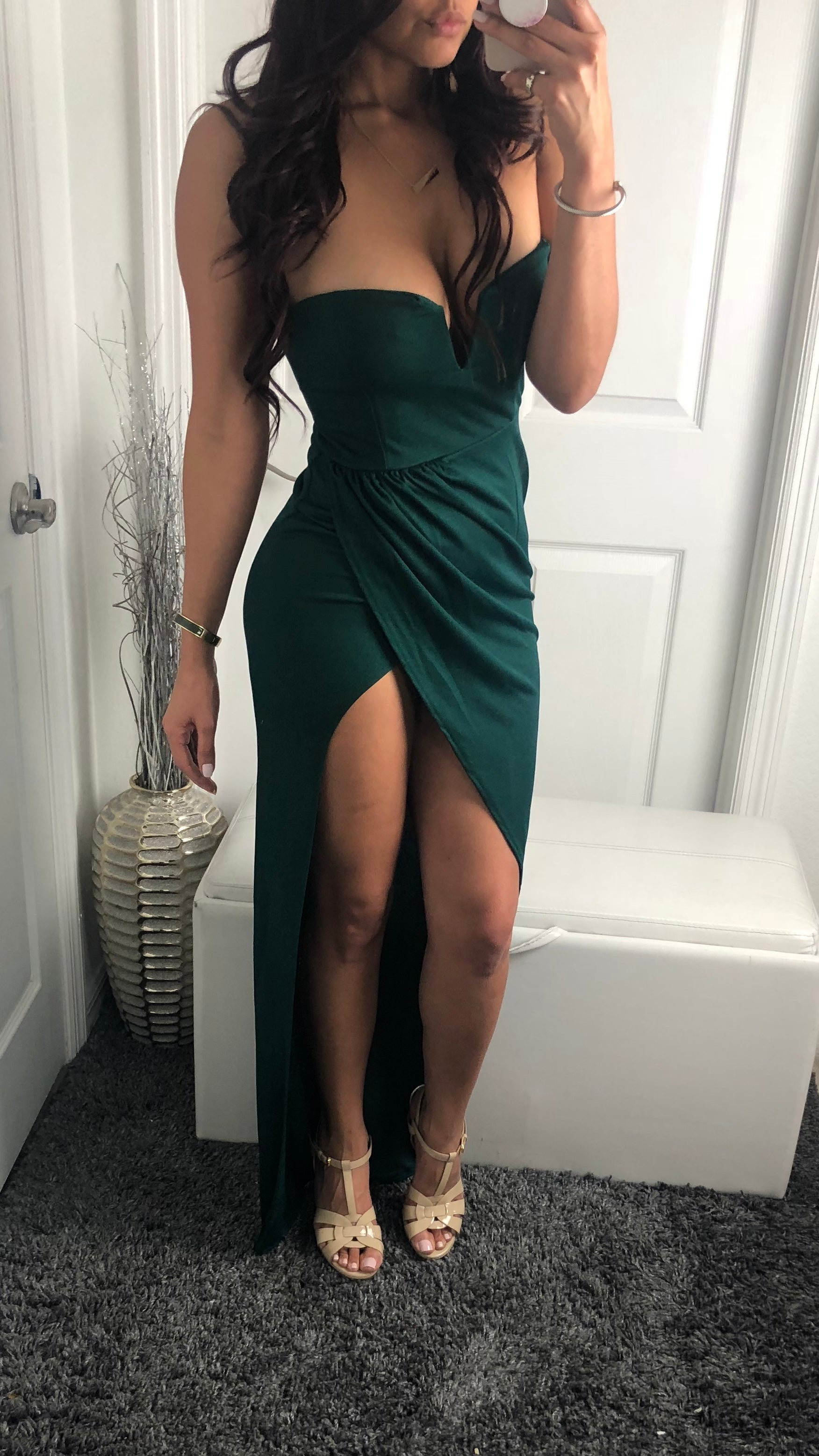 May Gown - Hunter Green Dress - By Halos Boutique