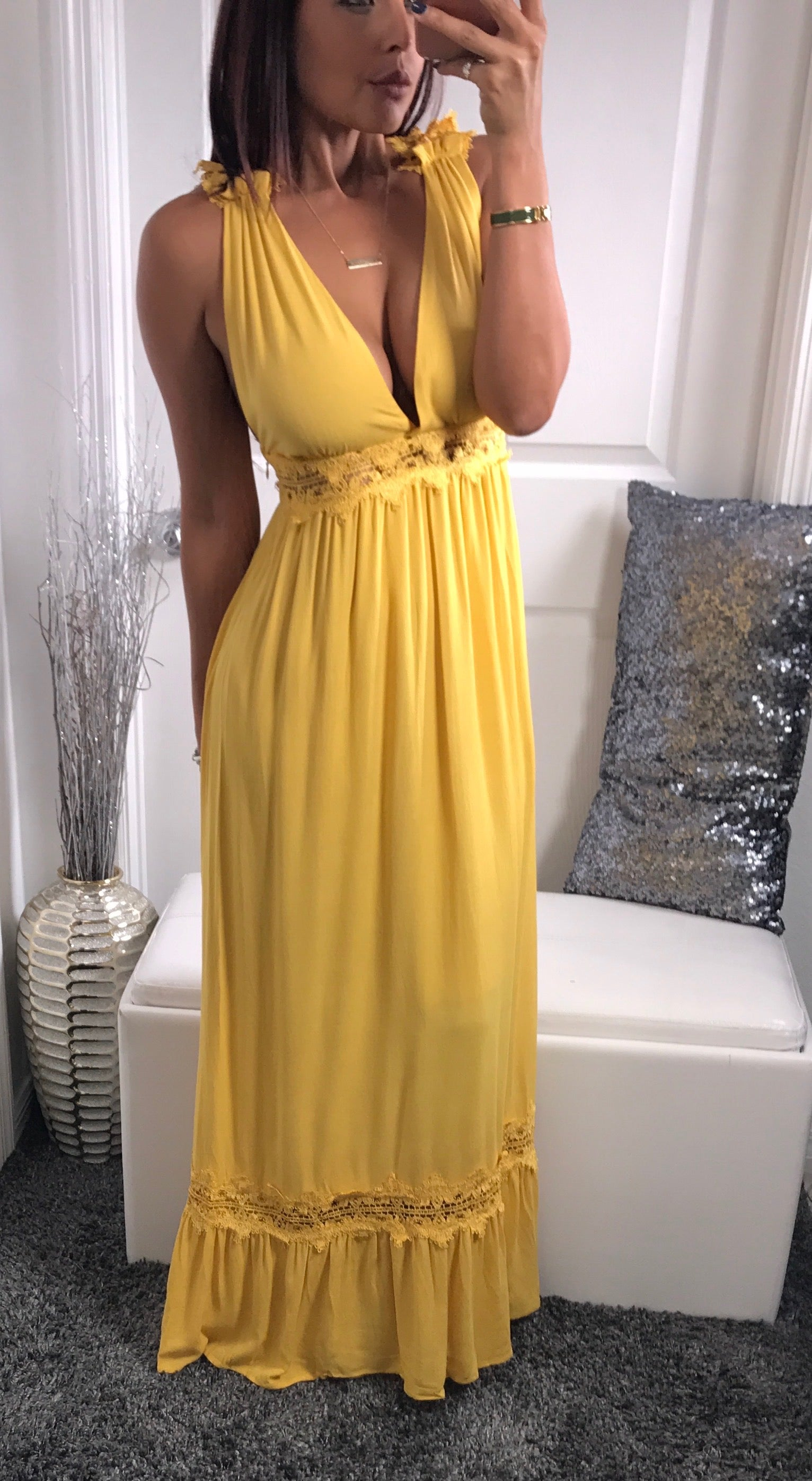 Mia Maxi - Mustard Yellow - Fall Dresses by Halos Boutique