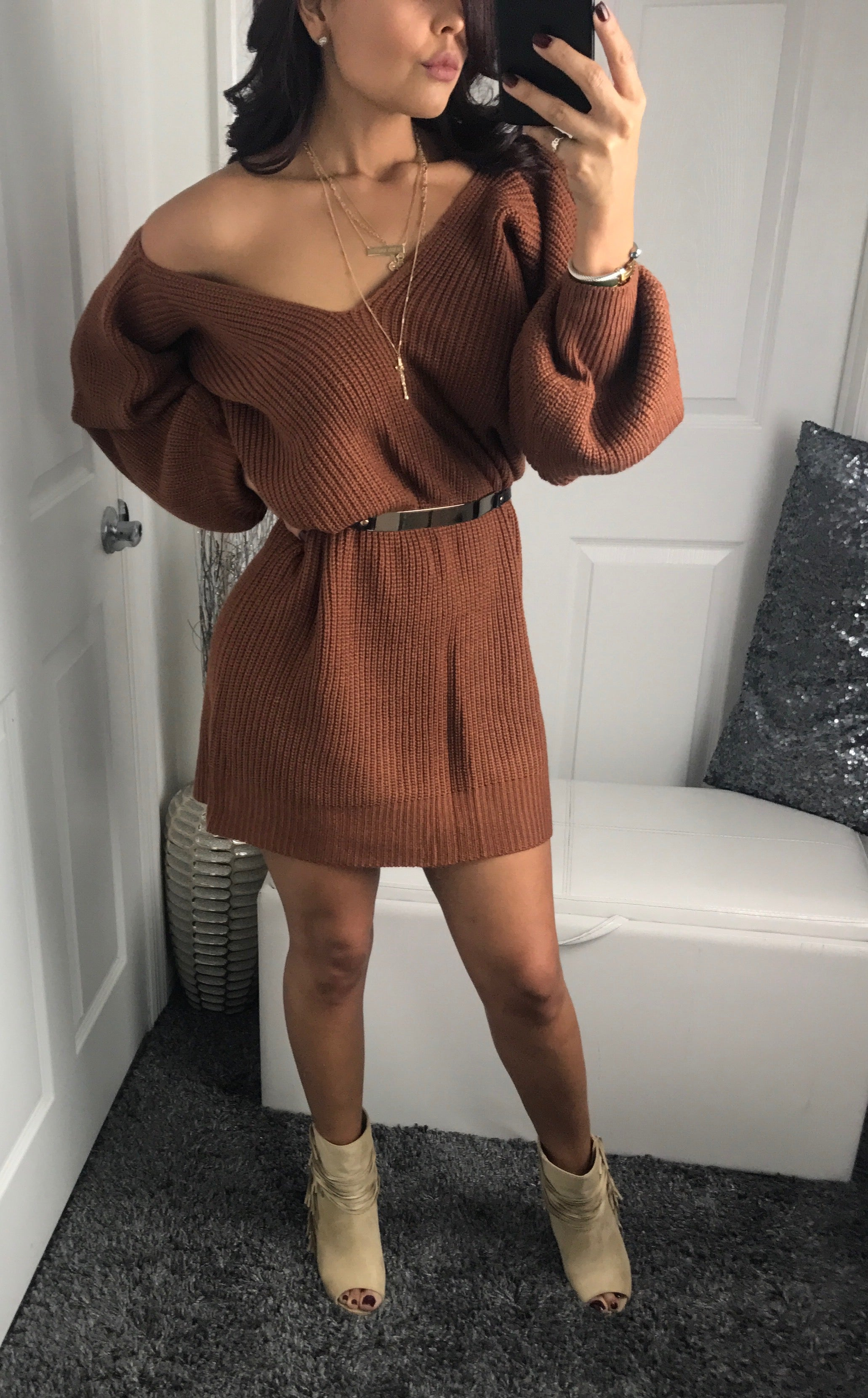 Adrianna Sweater Dress - Thanksgiving Outfit - by Halos Boutique