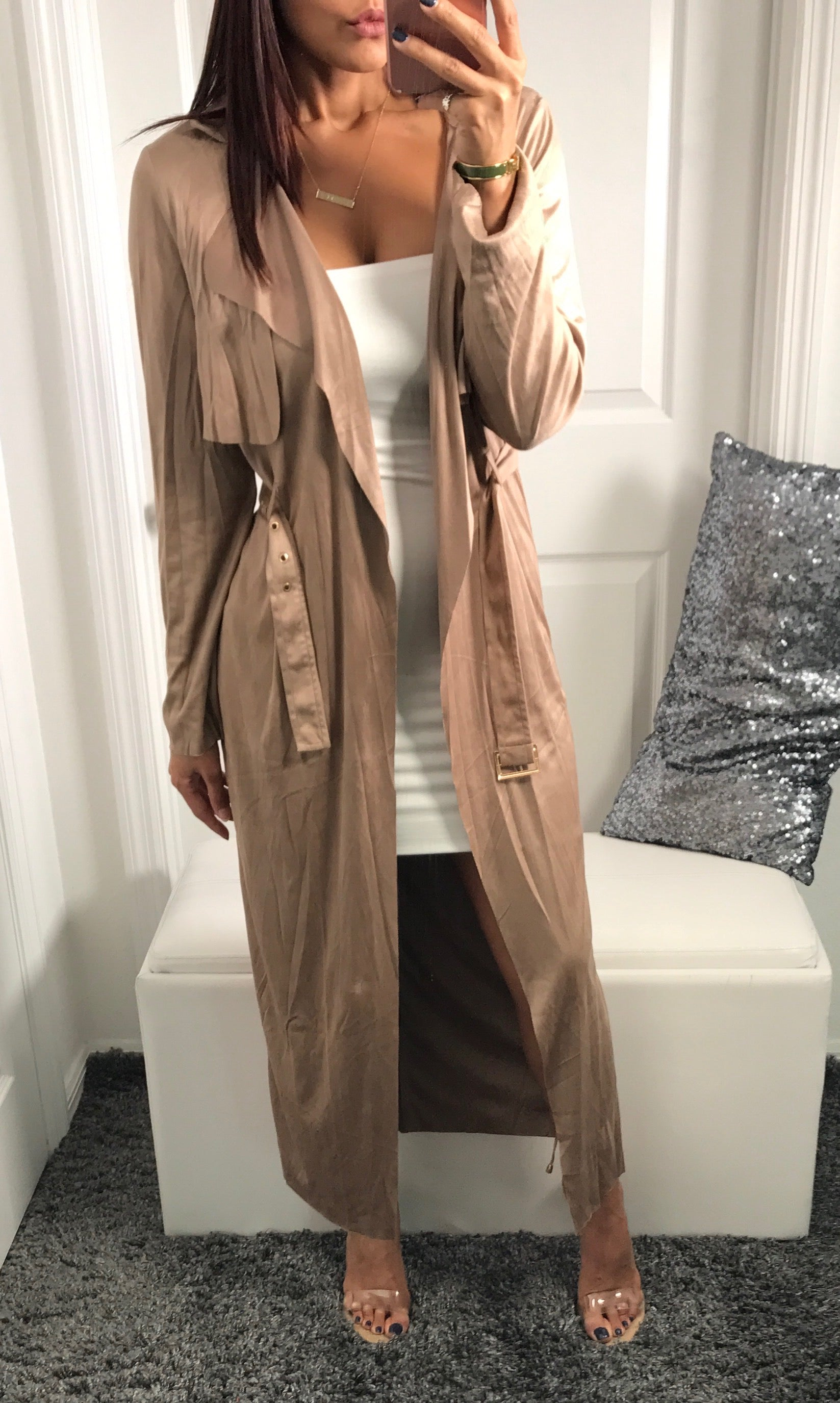 Krizia Coat - Tan Jacket - Dusters by Halos Boutique