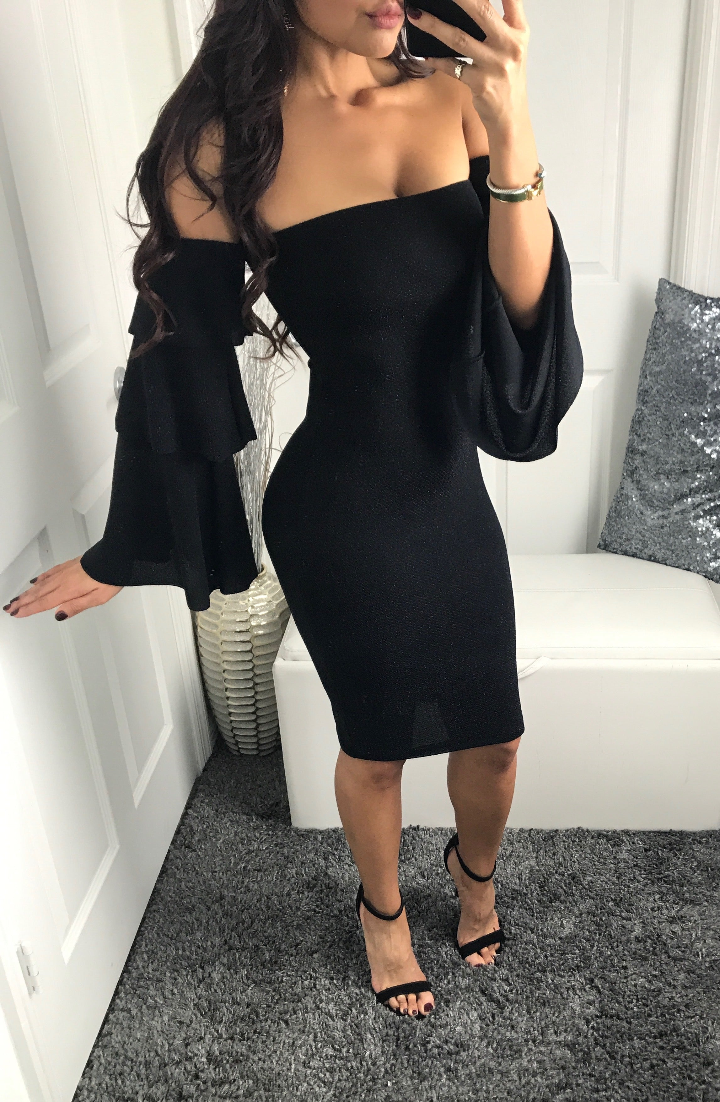 Jovanna Midi - Black Dress Ruffled Arms - by Halos Boutique