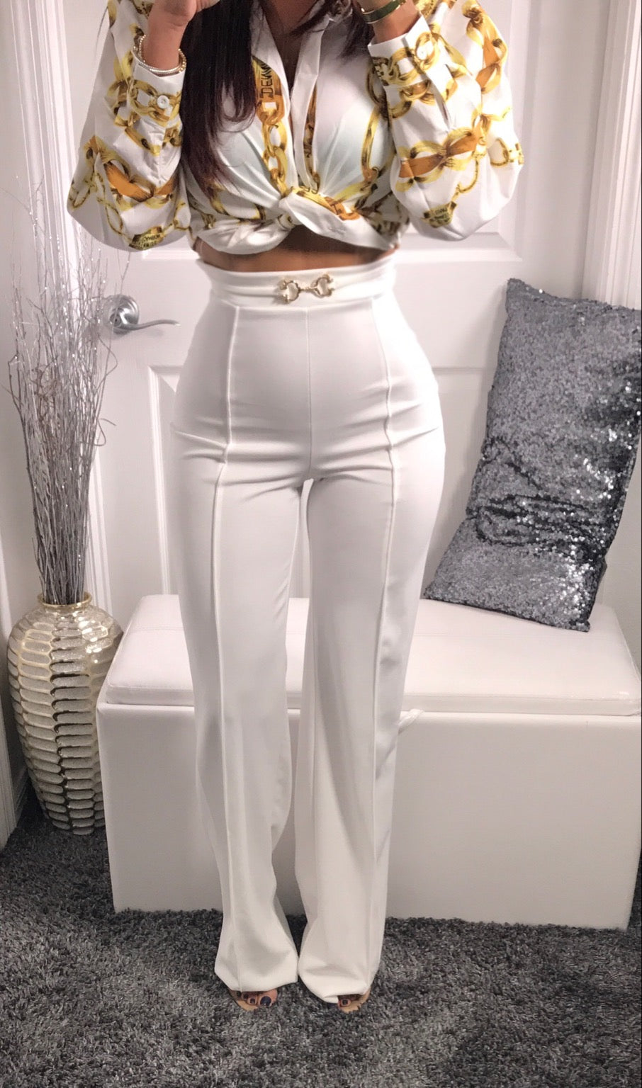 Valentina Wide Leg Pants - White Bottoms - by Halos Boutique