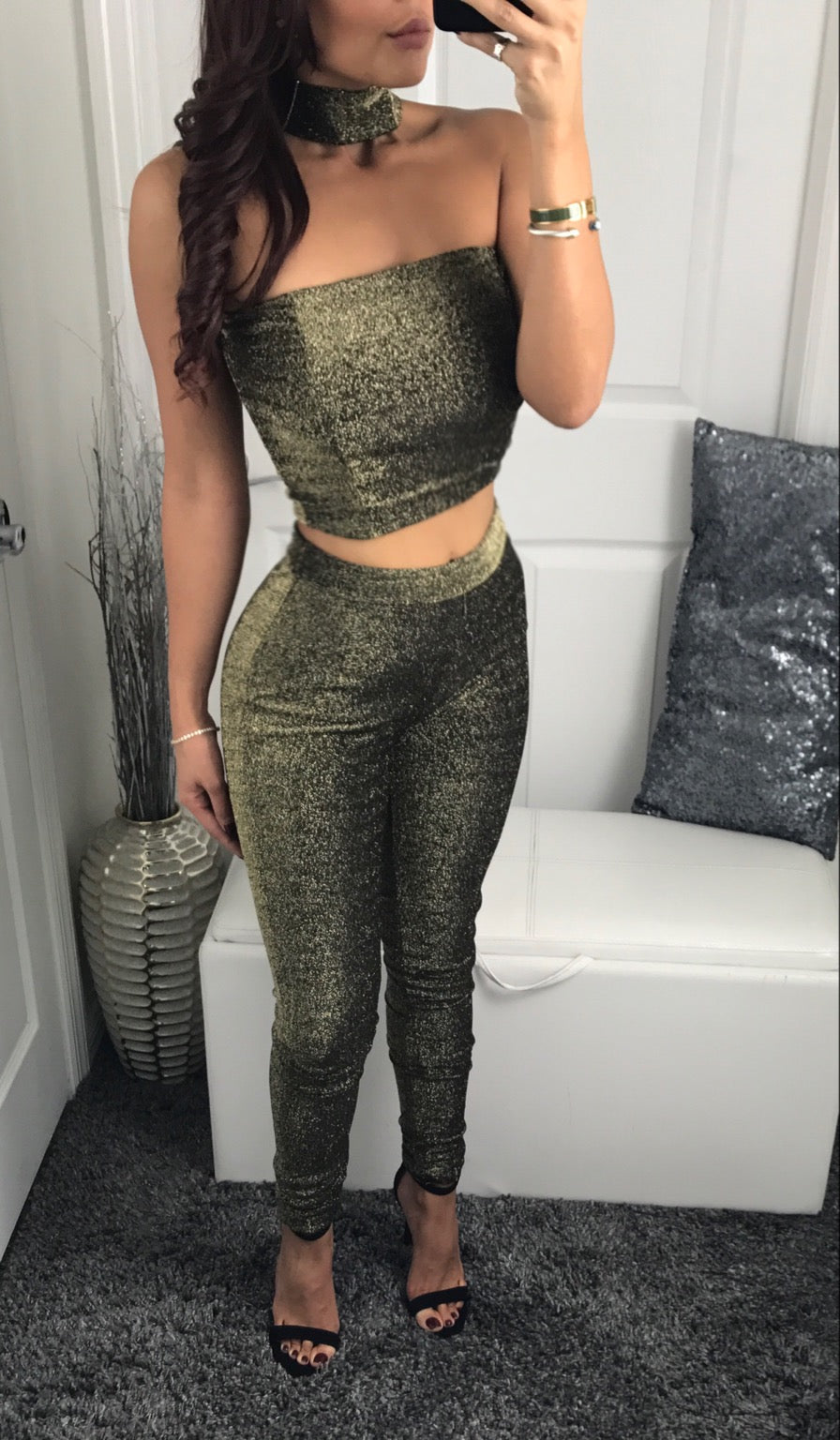 Luna Pant Set - Gold Glitter 2 Piece - Fall by Halos Boutique