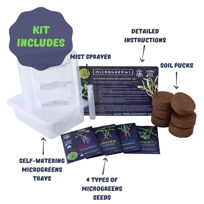Self Watering Soil Microgreens Kit - Contents