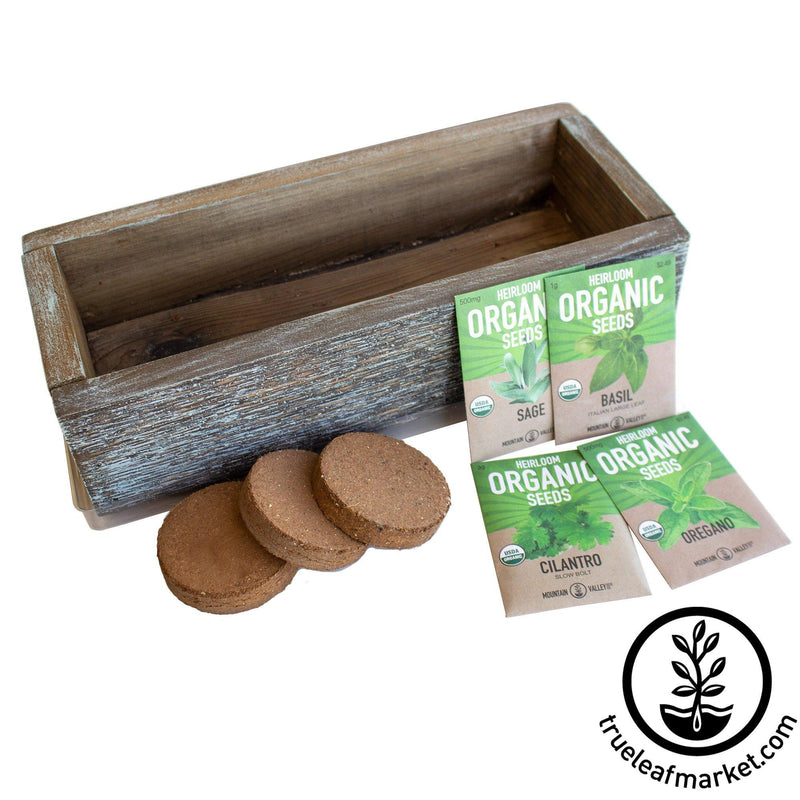 Barnwood Planter Organic Culinary Herb Garden Kit aged empty