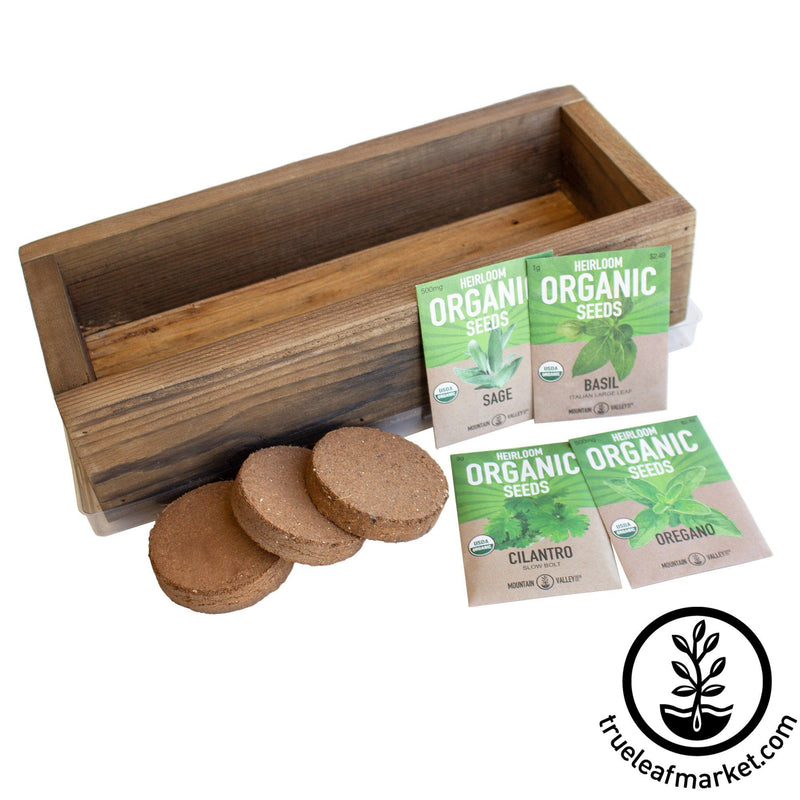 Barnwood Planter Organic Culinary Herb Garden Kit brown empty