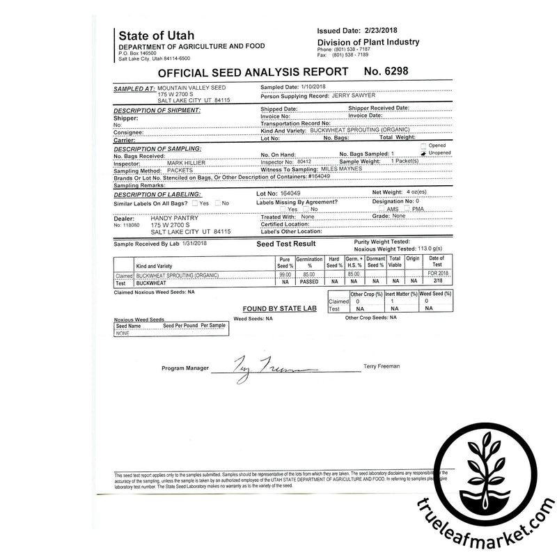 Canada Seed Analysis Certificate