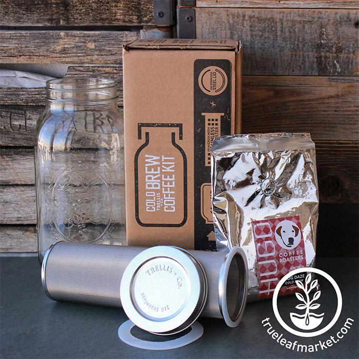 Stainless Steel Cold Brew Coffee and Tea Filter & Lid Kit Contents