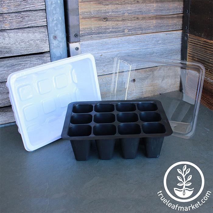 SOMESUN Seed Starter Trays Seedling Tray 12 Cells Humidity Adjustable Plant Starter Adjustable Plant Starter Kit with Dome and Base Greenhouse Grow Trays Mini Propagator for Seeds Growing Starting