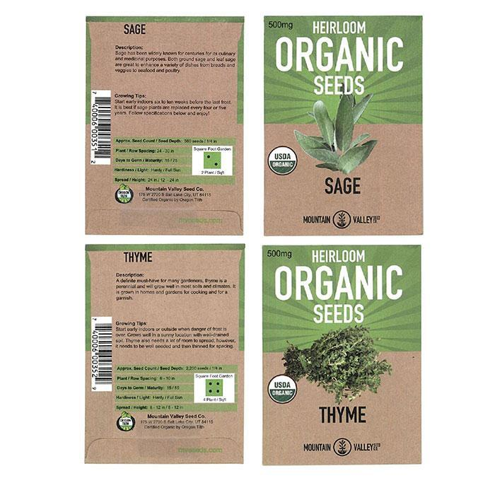 Organic Herb Garden Planting Seeds Collection - 8 Pack
