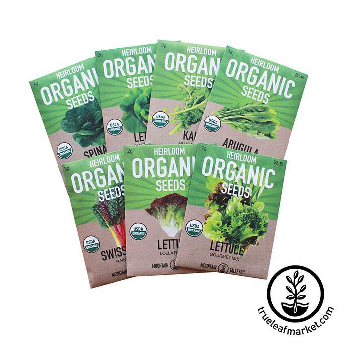 Organic Leafy Greens Seed Assortment - 7 Pack