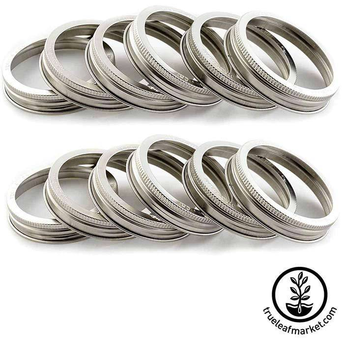 Stainless Steel Wide Mouth Jar Rings 12 Pack