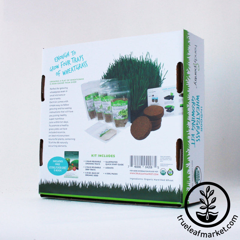 The Organic Wheatgrass Growing Kit box back