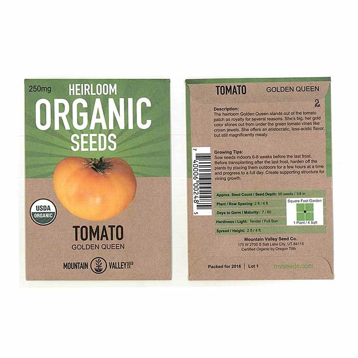 Tomato Seeds - GMO Free Golden Queens Packet Size