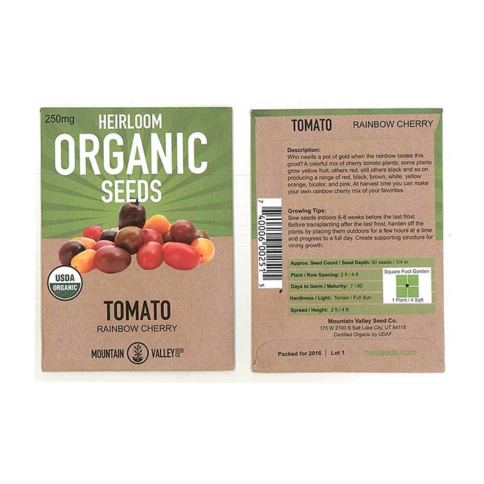 Tomato Seeds for Non GMO Gardening Packet Size