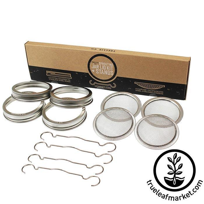 Stainless Steel Wide Mouth Sprouting Jar Lid 4 Pack with stands