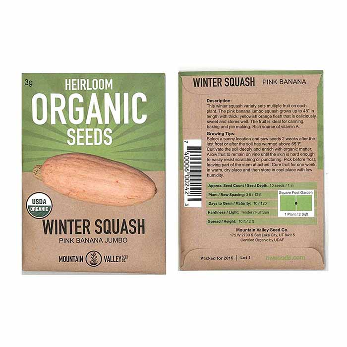 Squash Seeds for GMO Free Gardens Packet Size