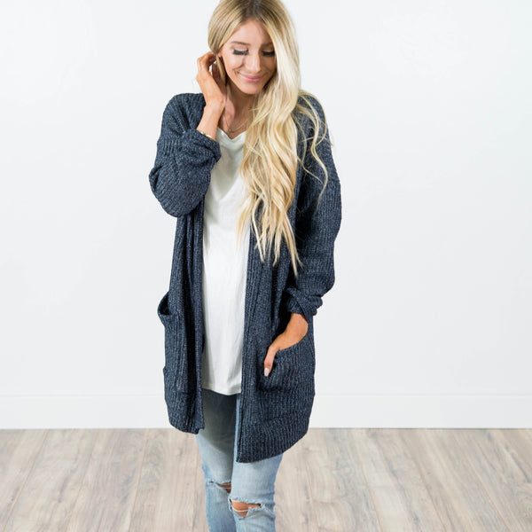 Chunky Knit Cardigan in Navy