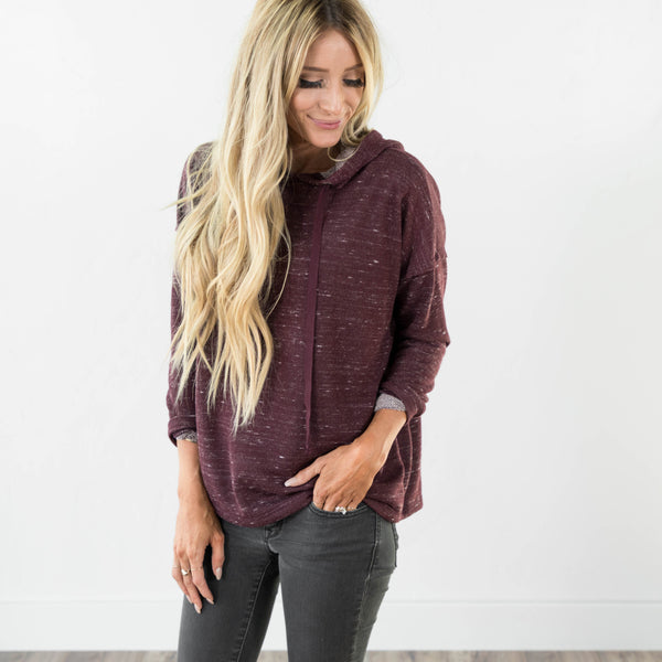 French Terry Hoodie in Burgundy