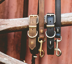 Natural Leather Dog Collars & Leads