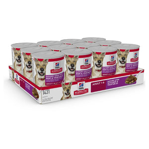 Pack of 12 Science Diet Dog Adult Savoury Stew Beef 363g Can