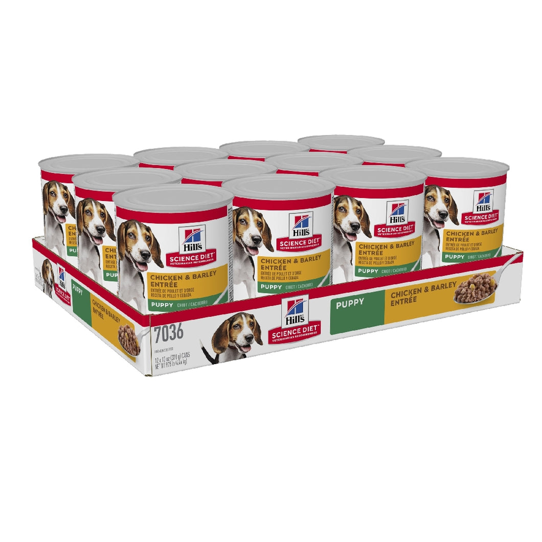 Pack of 12 Science Diet Dog Puppy Chicken & Barley Can 370g