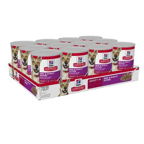 Pack 12 of Science Diet Dog Adult Beef 370g can