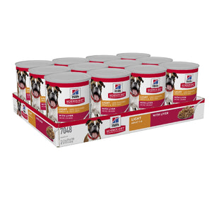 Pack of 12 Science Diet Dog Adult Light 370g can
