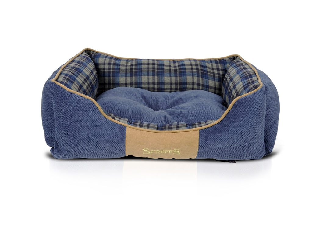 Scruffs Highland Box Bed - Tartan Blue 60cm x 50cm