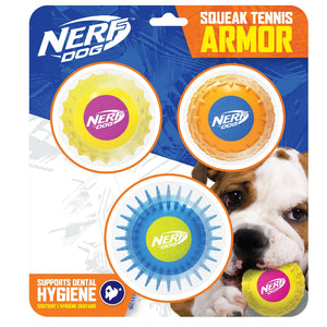 Nerf Twin Armour Ball Set - 3 Pack Yellow/Pink-Orange/Blue & Blue/Green on Blister