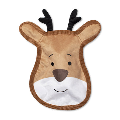 Reindeer Face Durable Plush Dog Toy