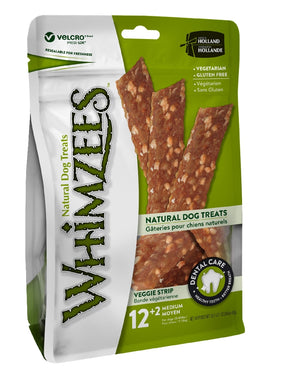Whimzees Veggie Strips Medium Stand up Bag of 12
