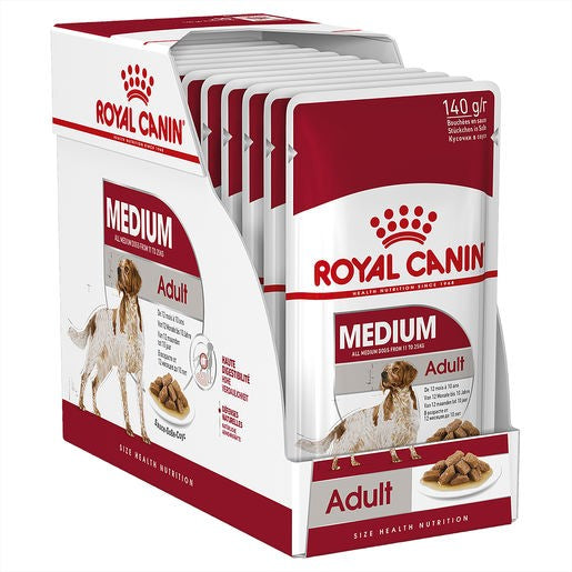 Pack of 10 Royal Canin Dog Medium Adult Wet Dog Food Pouch Single 140g