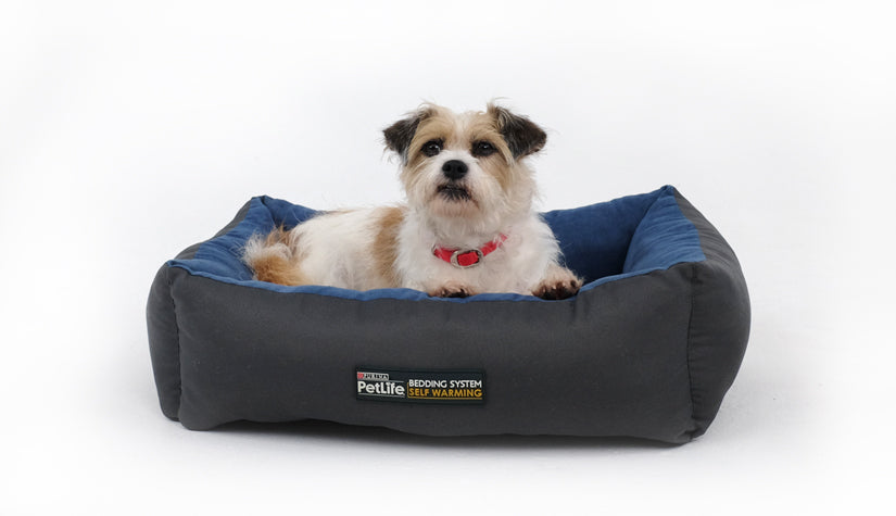 Purina Pet Life Self Warming Bed Blue/Charcoal S/M