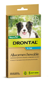 Drontal Dog All Wormer Chewable up to 10kg 5 pack