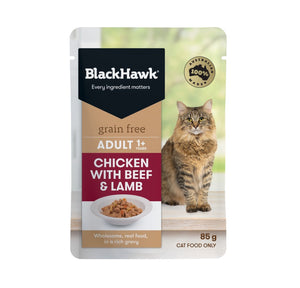 Black Hawk Feline Beef & Chicken 85G Pouch