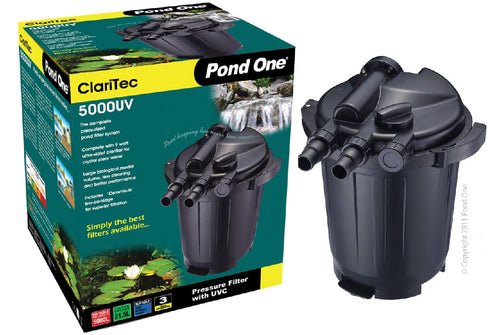 Pond One ClariTec 5000UV Pressurised Filter with 9watt ultra violet clarifier
