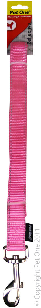 Pet One Leash Reflective Pink