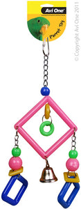 Avi One Bird Toy Acrylic 3 Diamonds/Bell 28Cm L