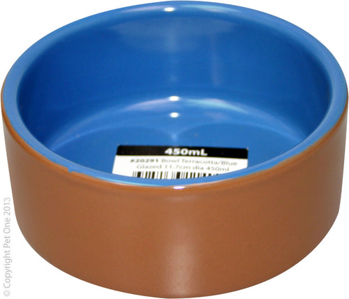 Pet One Bowl Blue Glazed 11.7Cm Dia 450ml