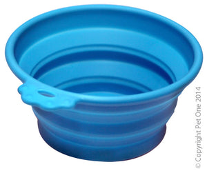 Pet One Silicone Round Travel Bowl S 370ml Blue