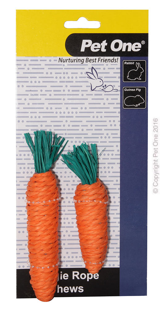 Pet One Veggie Rope Chew Carrot twin pack