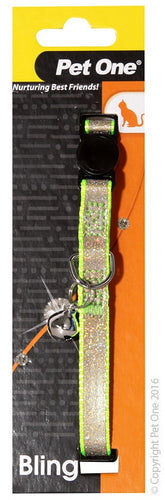 Pet One Cat Collar Sparkle with Breakaway Clip Green 30cm