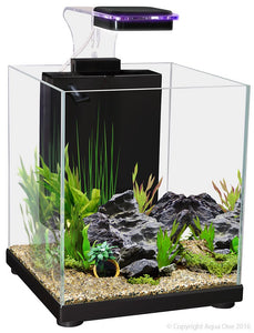 Aqua One Betta Sanctuary Glass Aquarium 10L 22.4cm W X 22.4cm D X 26.3cm H (Black)