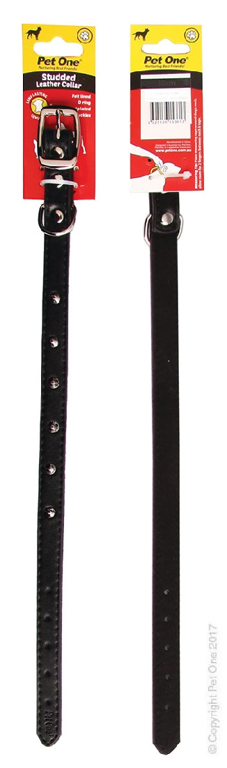 Pet One Collar Leather Single Row Studded Black