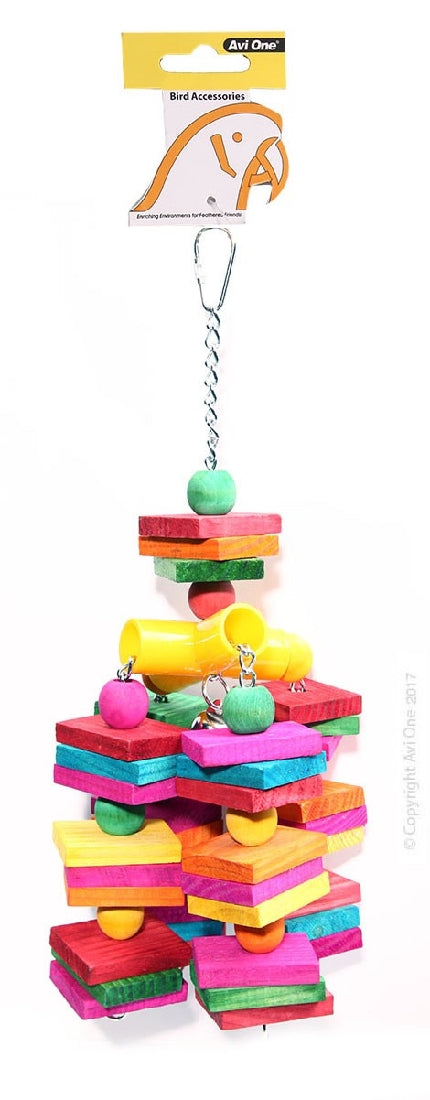 Avi One Bird Toy Coloured Wood Cube With Bell 35cm x11cm