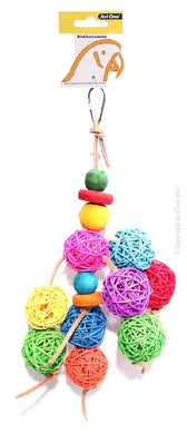 Avi One Bird Toy Leather Rope Coloured Rattan Ball  37Cm