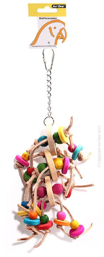 Avi One Bird Toy Leather Rope With Wooden Discs And Coloured Beads 33Cm